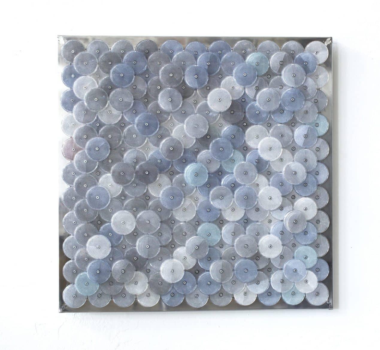 Dani Marti, 'Dust (grey)', 2019, customised corner reflectors, polished aluminium, 97 x 97 cm,