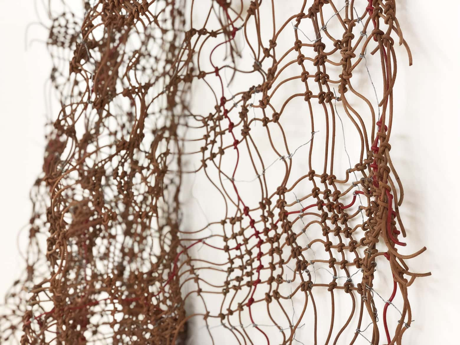 Dani Marti, 'Hanging with no title', 2008-2019, leather and steel wire, 220 x 140 cm