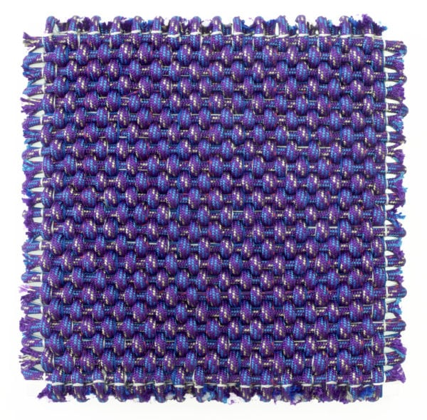 'Composition in Blue and Purple', 2018, polyester and aluminium, 62 x 62 x 8 cm<br />
