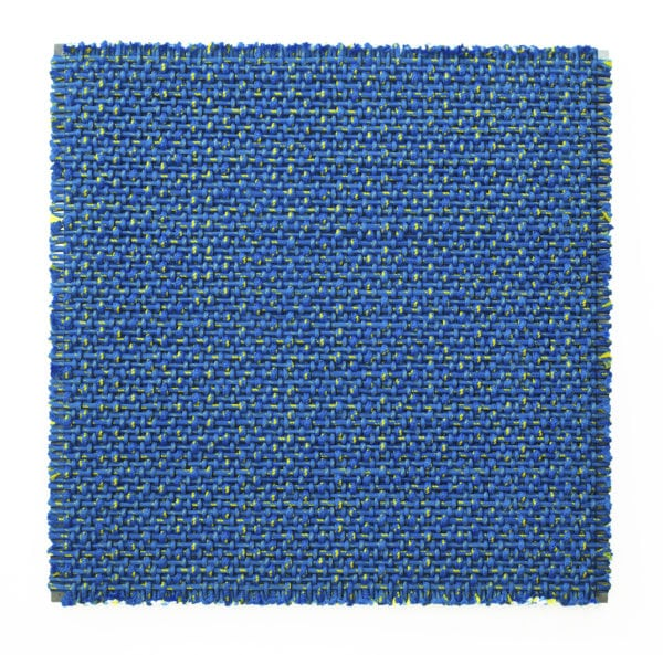 'Composition in Orange and Blue', 2018, polyester and aluminium, 172 x 172 x 8cm<br />