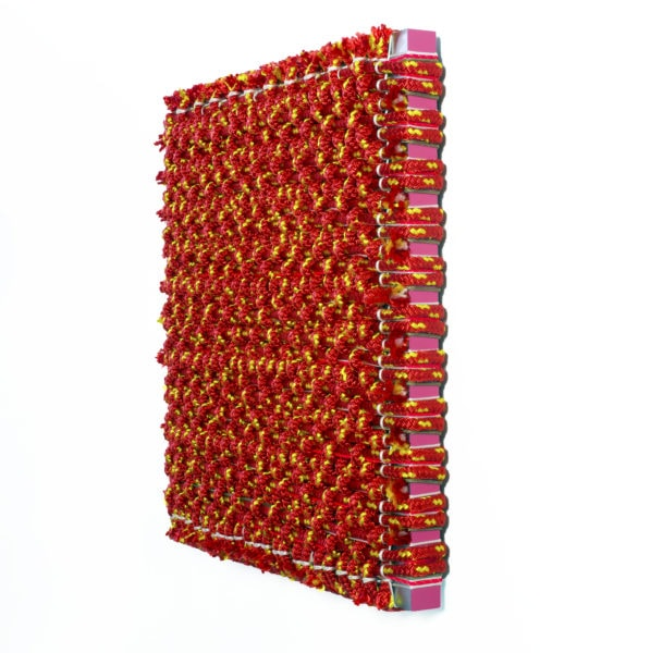 'Composition in Pink and Red', 2018, polyester and aluminium, 62 x 62 x 8cm