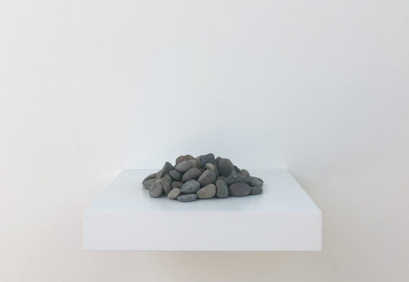 'We are two molecules floating together in space and our distance is infinite… then the sound of birds', 2018, site-specific installation in two parts, stones, developed and performed at Art Omi Artists Residency