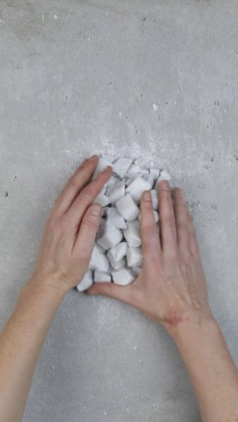 Emma Fielden, 'A Diminishing Force', 2019, two-channel HD video with stereo audio, 10:30 minutes; two sculptures, Queensland Bianca marble, ferrite magnet, edition of 3 + 1AP
