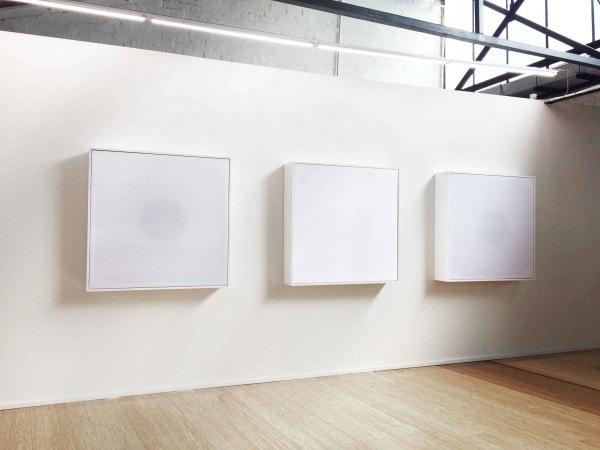 'White', 2016, MDF, silk, amplifier, subwoofer speaker, 120 x 120 x 24 cm, <br /> edition of 6 + 1 AP