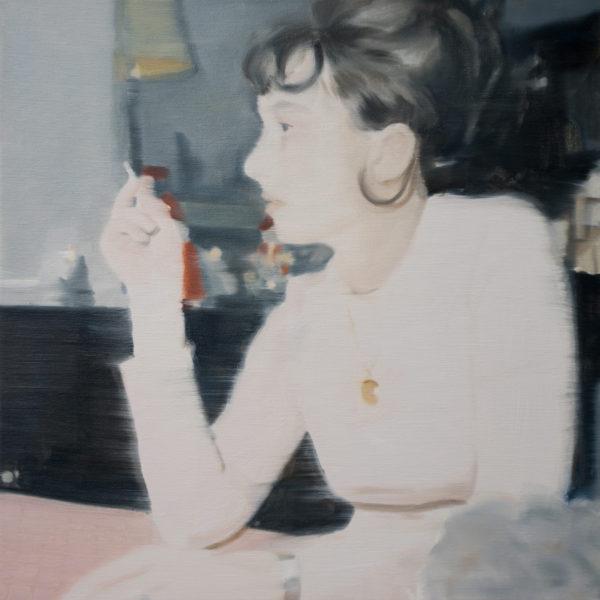 'Anna Smoking', 2018, oil on linen, 31 x 31 cm