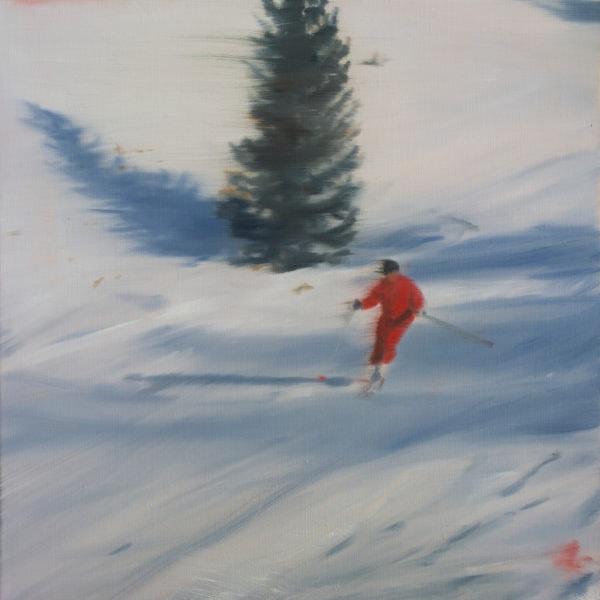 'Skier III', 2016, Oil on linen, 31 x 31cm