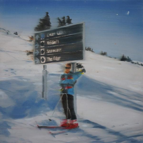 'Skier IV', 2016, Oil on linen, 31 x 31cm