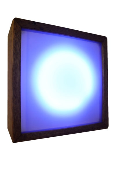 Yvette Hamilton: 'Echo', 2014, Wooden lightbox, LED lights, microprocessor, mirror film, 23 x 23 x10 cm, edition of 1<br />