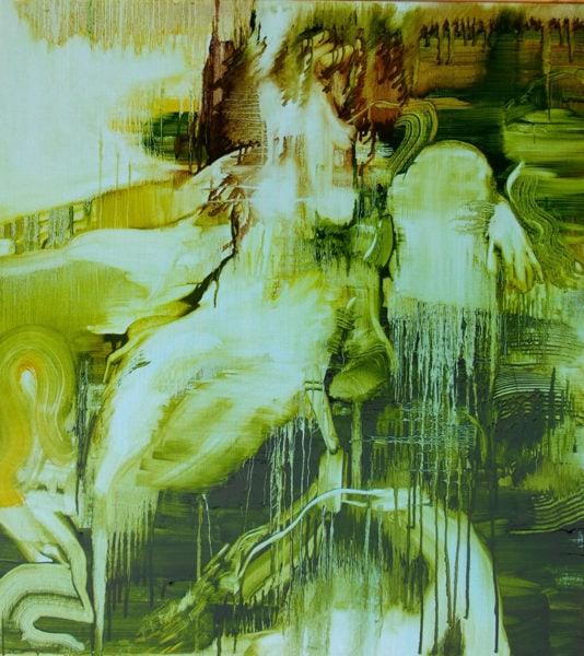 'Dianna (green) after tian)', 2017, oil on linen, 110 x 100 cm