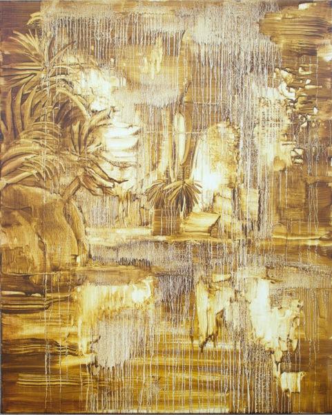 'Landscape (golden brown)', 2017, oil on canvas, 135 x 110 cm