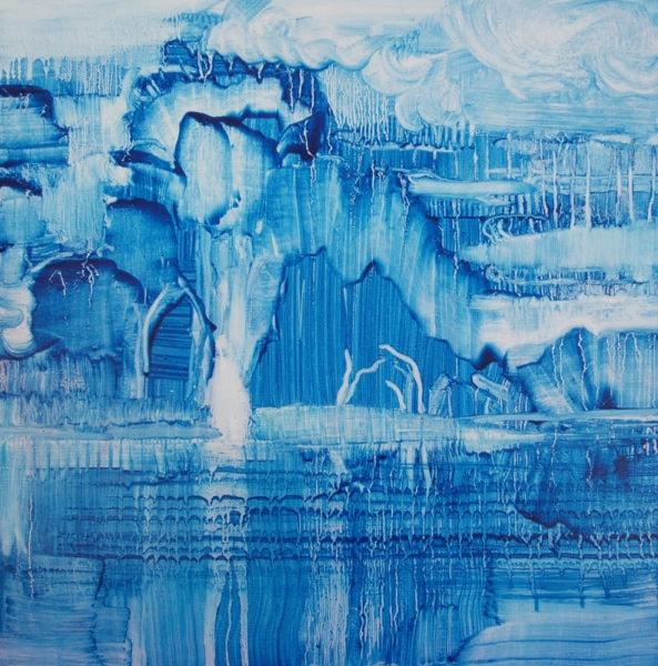 'Prussian Blue Landscape', 2017, oil on canvas, 50 x 50 cm