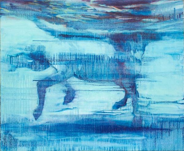 'Swimming Horse (blue)', 2017, oil on linen, 135 x 110 cm