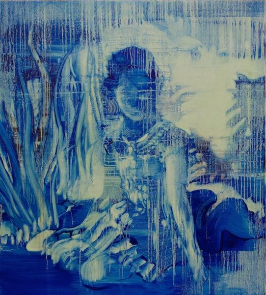 'Blue Uniform', 2017, oil on canvas, 110 x 110 cm