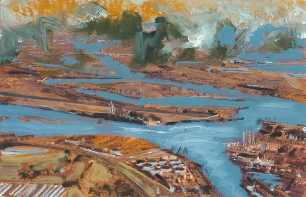 'Union Oil Company's Natural Color Scenes of the West 116', oil on 1940's postcard, 9cm x 14cm