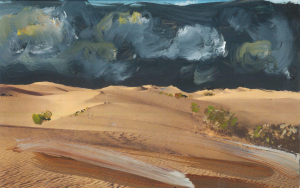'Union Oil Company's Natural Color Scenes of the West 74', oil on 1940's postcard, 9cm x 14cm