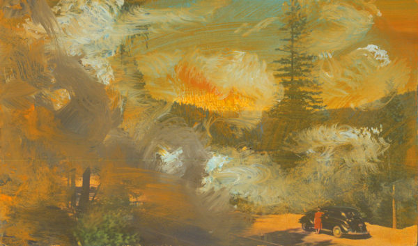 'Union Oil Company's Natural Color Scenes of the West 56', oil on 1939 postcard, 8.1cm x 13.7 cm