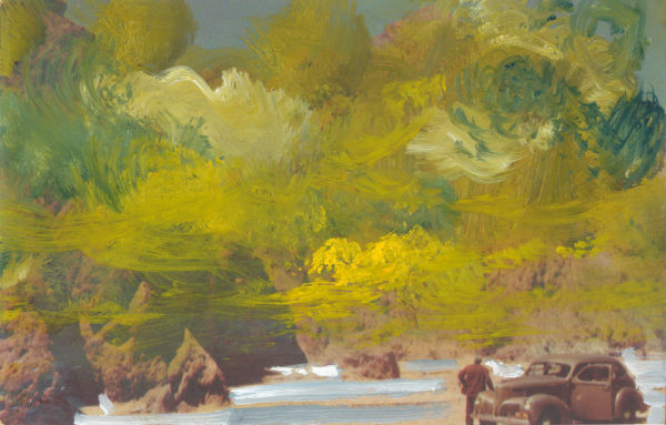 'Union Oil Company's Natural Color Scenes of the West 120', oil on 1940's postcard, 9cm x 14 cm