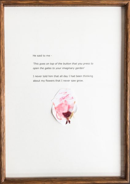 Lottie Consalvo, 'All My Flowers I Never Saw Grow' 2019, laser print, flower, felt tip marker and crayon on paper, mounted onto Masonite, 162 x 52 cm
