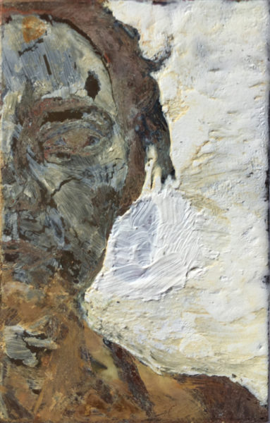 '544', 2017, oil, pigment, and goats milk soap on copper, 6.2 x 3.8 cm