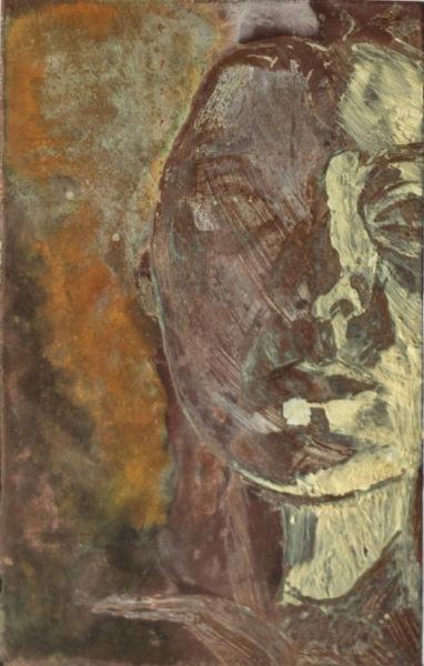 '558', 2017, oil, pigment, and goats milk soap on copper, 6.2 x 3.8 cm