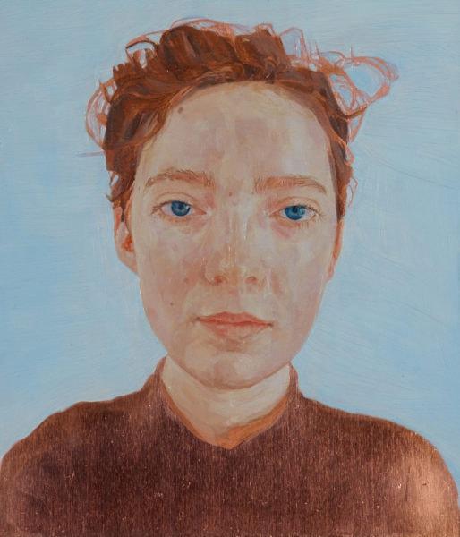 'Self-Portrait', 2016, oil on copper, 25 x 23 cm