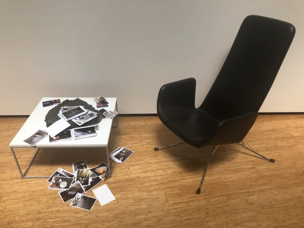 Gary Deirmendjian, 'thank you for your patience', 2018, 439 prints, bitumen, armchair, table, dimensions variable