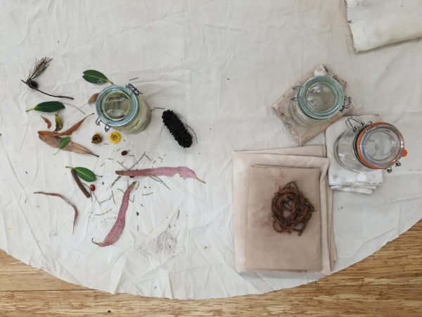 Katie West, 'muhlu garrwarn / cool time hot time', 2017, bush-dyed silk, cotton and thread, jirri (needle), yirrarla (calico), cardboard, steel pots, glass jars, bawa (water), watharn (green leaves),birditha (dry leaves), jurdubirri (native flower), burlaawa (non-native flower), birra (bark), dimensions variable. <br />
