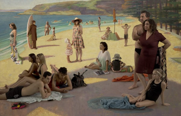 Untitled, Figures on Manly Beach (after Nancy Kilgour), 2015,<br />