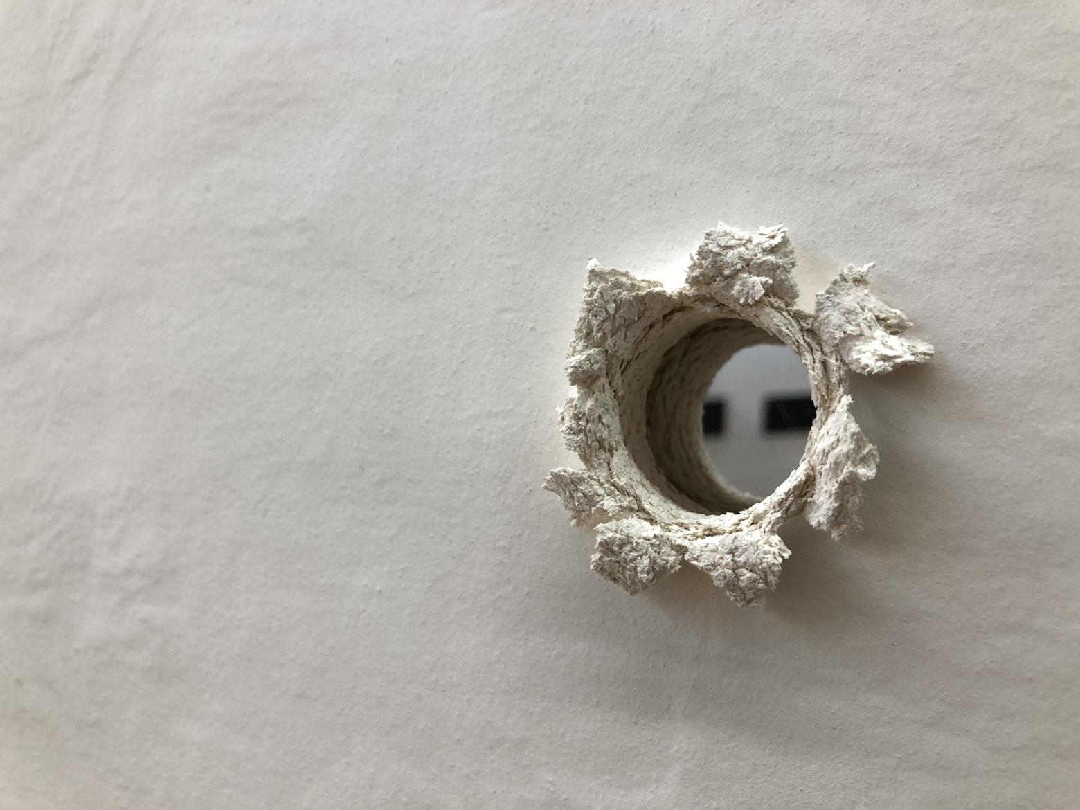 'Ricochet I' number 2, detail, 2018, stoneware ceramics and acrylic mirror, 50 x 50 cm