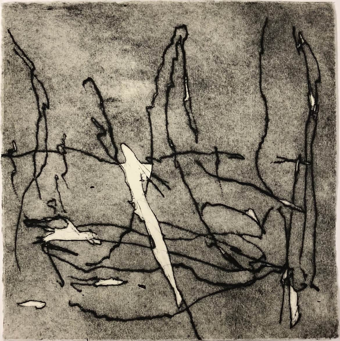 'The other side of stone', 2018, drypoint on Hahnemuhle 300 gsm paper, 25 x 25 cm, edition of 3 + 1 AP