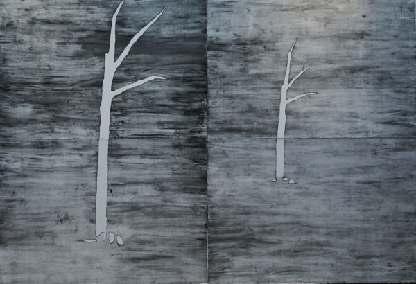 'The twin hanging trees', 2017, unique state drypoint monotype on 300gsm Hahnemuhle paper mounted on aluminium, 160cm x 240cm