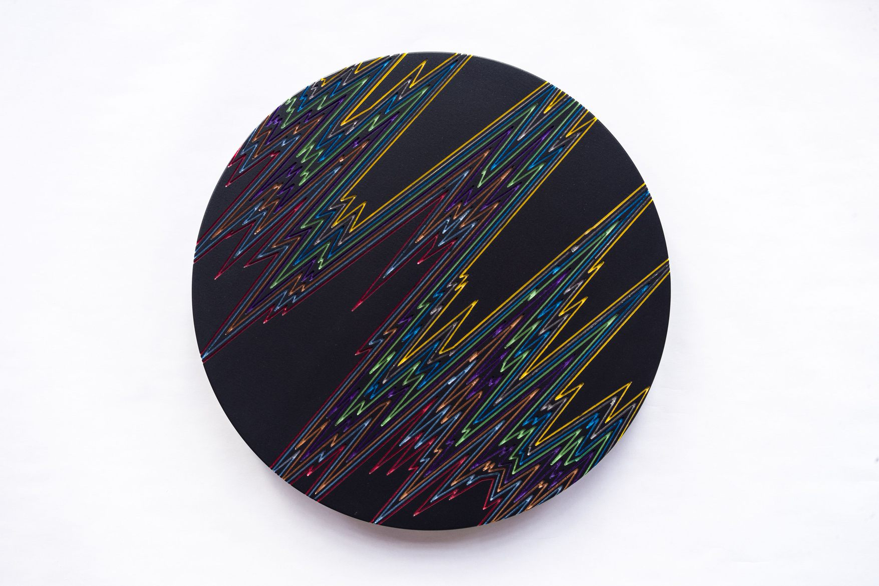 'INNER SPACE SERIES #1', 2015, Freehand Routed MDF, acrylic metallic paints, UV clear lacquer, 37 cm diameter, wall x 4 cm.