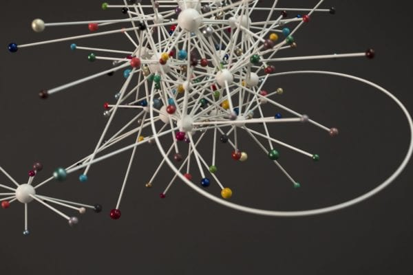 'WHIZZER' (detail), 2013, wooden spheres, glass fibre rods, nail lacquer, nylon filament, approximately 45 x 68 x 44 cm