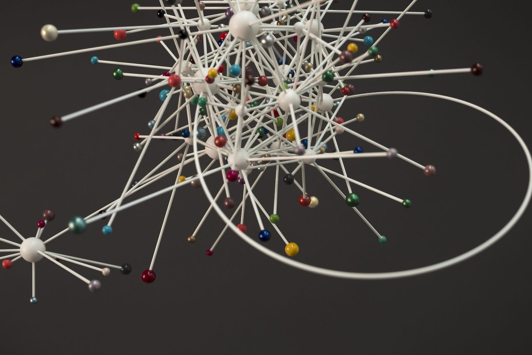 'WHIZZER' (detail), 2013, wooden spheres, glass fibre rods, nail lacquer, nylon filament, approximately 45 x 68 x 44 cm