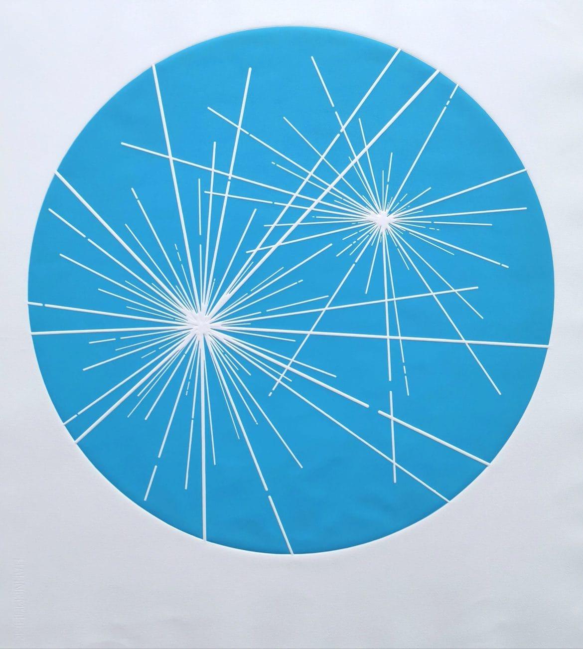 Binary Star (Sky Blue), woodblock print, 300gsm hanhemuhle deckled edge etching paper, edition of 5, 89.5cm x 81cm<br />