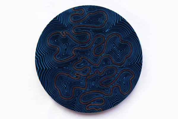 'INNER  SPACE  SERIES  #2',  2015, Freehand  Routed  MDF,  acrylic metallic  paints, UV  clear lacquer, 54  cm diameter,  wall  x  4  cm
