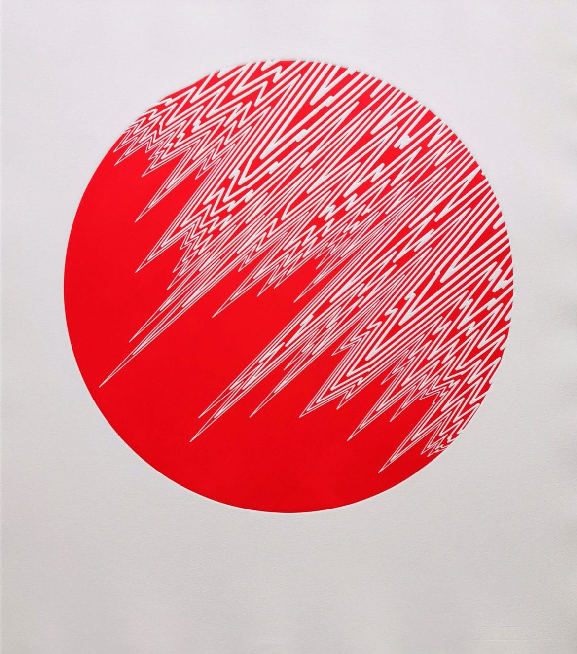 Pulse (Scarlet Red), woodblock print, 300gsm hanhemuhle deckled edge etching paper, edition of 5, 79cm x 69.5cm
