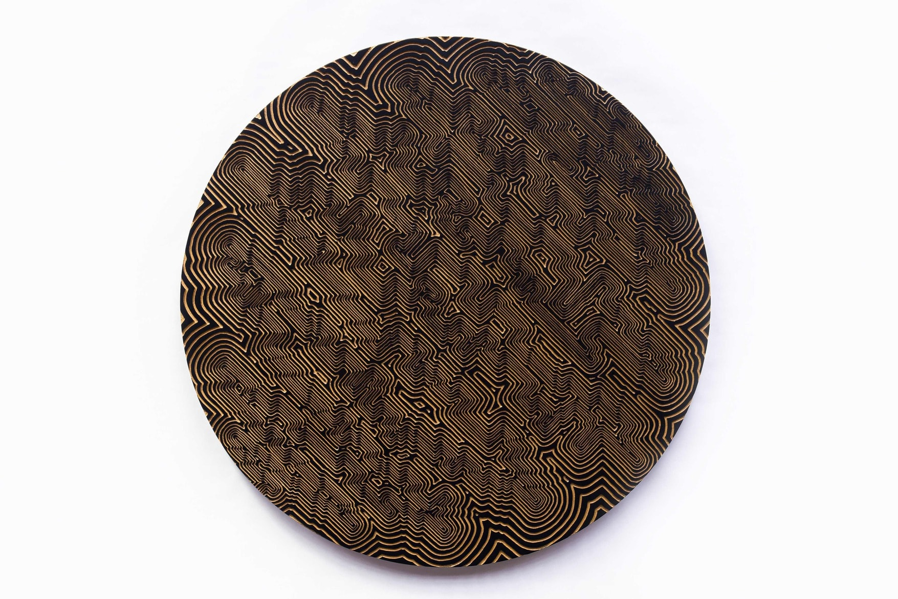 INNER  SPACE  SERIES  #3', 2015,  Freehand Routed  MDF, acrylic  metallic paints,  UV  clear lacquer, 72 cm  diameter,  wall  x  4  cm