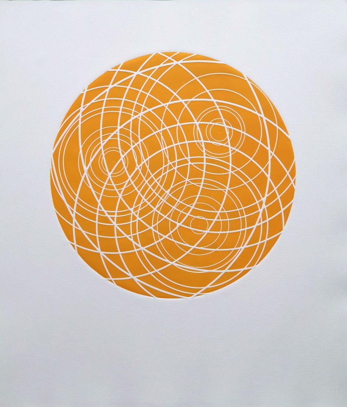 Ripples (Marigold Orange), woodblock print, 300gsm hanhemuhle deckled edge etching paper, edition of 5, 61cm x 52cm