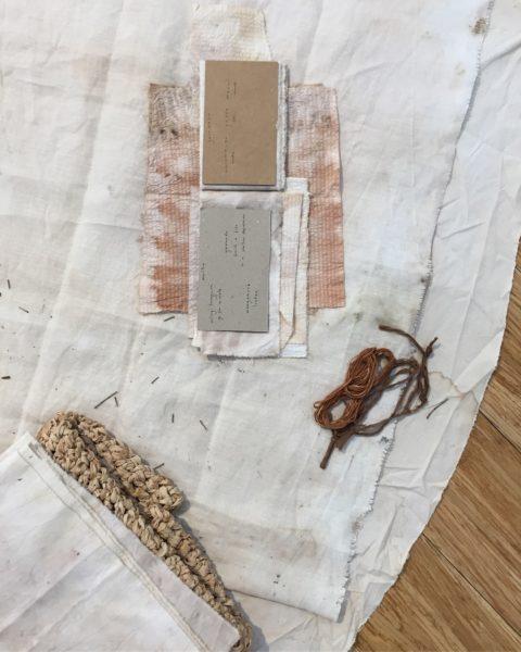 'muhlu garrwarn / cool time hot time', 2018, bush-dyed silk, cotton and thread, yirrarla (calico), cardboard, glass jars, bawa (water), watharn (green leaves), birditha (dry leaves), jurdubirri (native flower), burlaawa (non-native flower), birra (bark), dimensions variable. Photograph by Lucia Rossi.