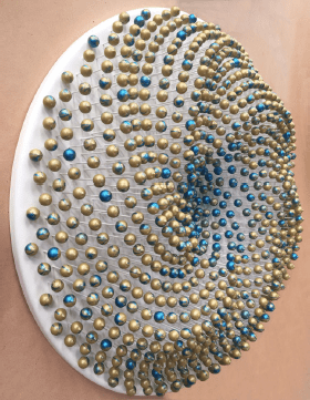 'PORTAL (Dripscape # 12)', 2017, 794 wooden spheres, MDF, glass fibre rods, gold and vibrant blue acrylic metallic paints, UV-clear lacquer,<br /> aluminium fixings, 67 cm diameter, wall-mounted disc x 13 cm depth