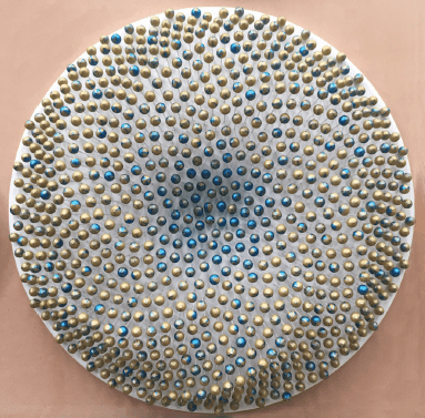 'PORTAL (Dripscape # 12)', 2017, 794 wooden spheres, MDF, glass fibre rods, gold and vibrant blue acrylic metallic paints, UV-clear lacquer,<br />