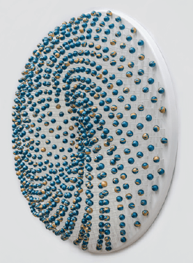 'COSMIC WHIRL (Dripscape # 9)', 2015, 794 wooden spheres, MDF, glass fibre rods, teal and gold acrylic metallic paints, lacquer, aluminium fixings,<br />