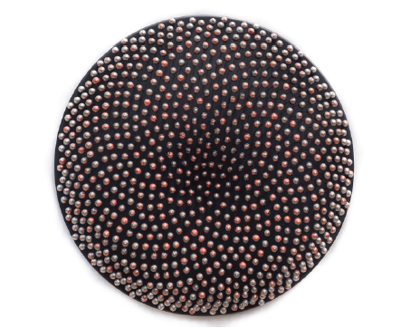 'DEEP SPACE ANOMALY (Dripscape # 10)', 2015, 794 wooden spheres, MDF, glass fibre rods, aluminium silver and copper acrylic metallic paints,<br />