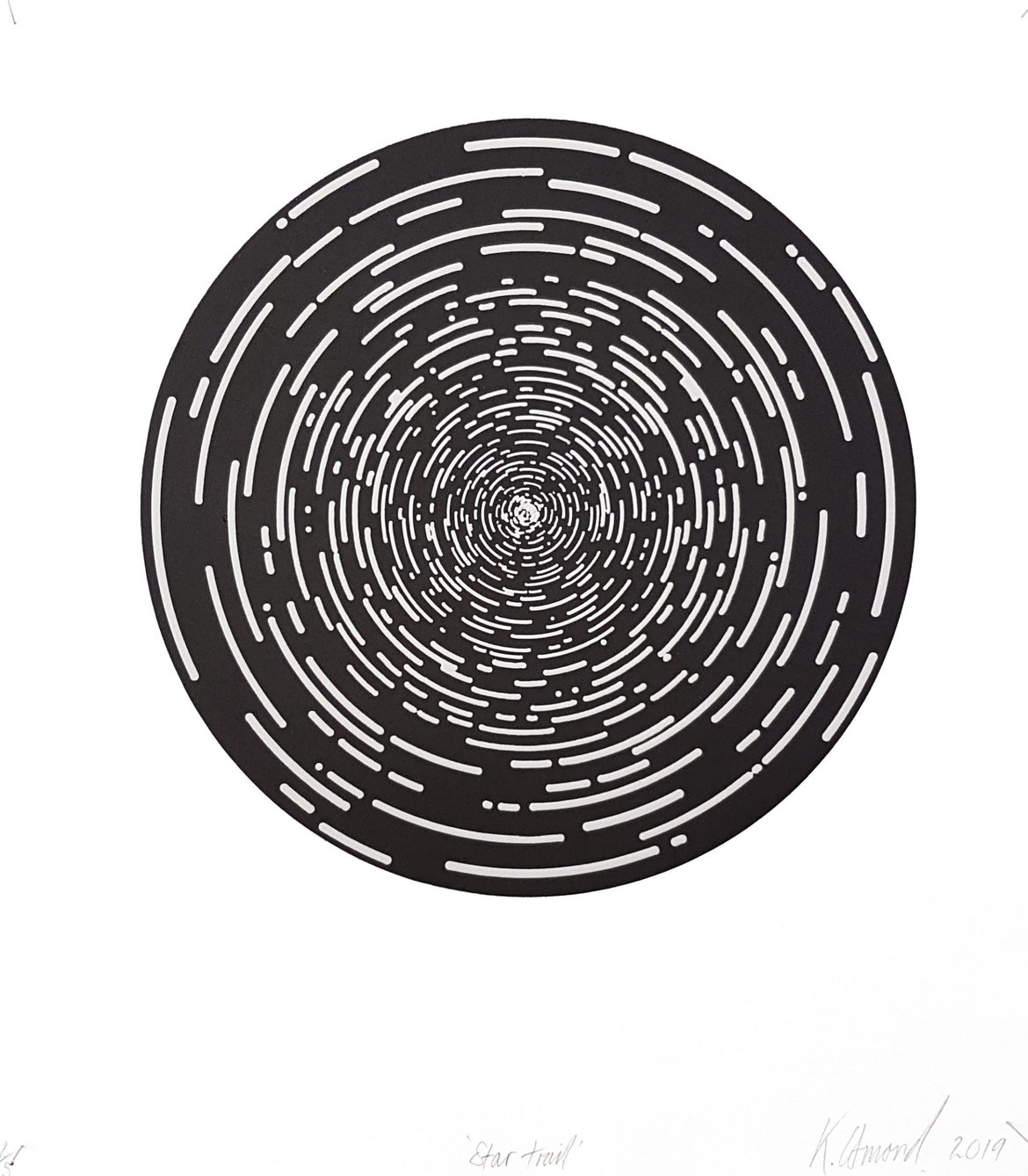 Star Trail (Black), woodblock print, 300gsm hahnemühle deckled edge etching paper, edition of 5 +1AP, 35 x 31 cm