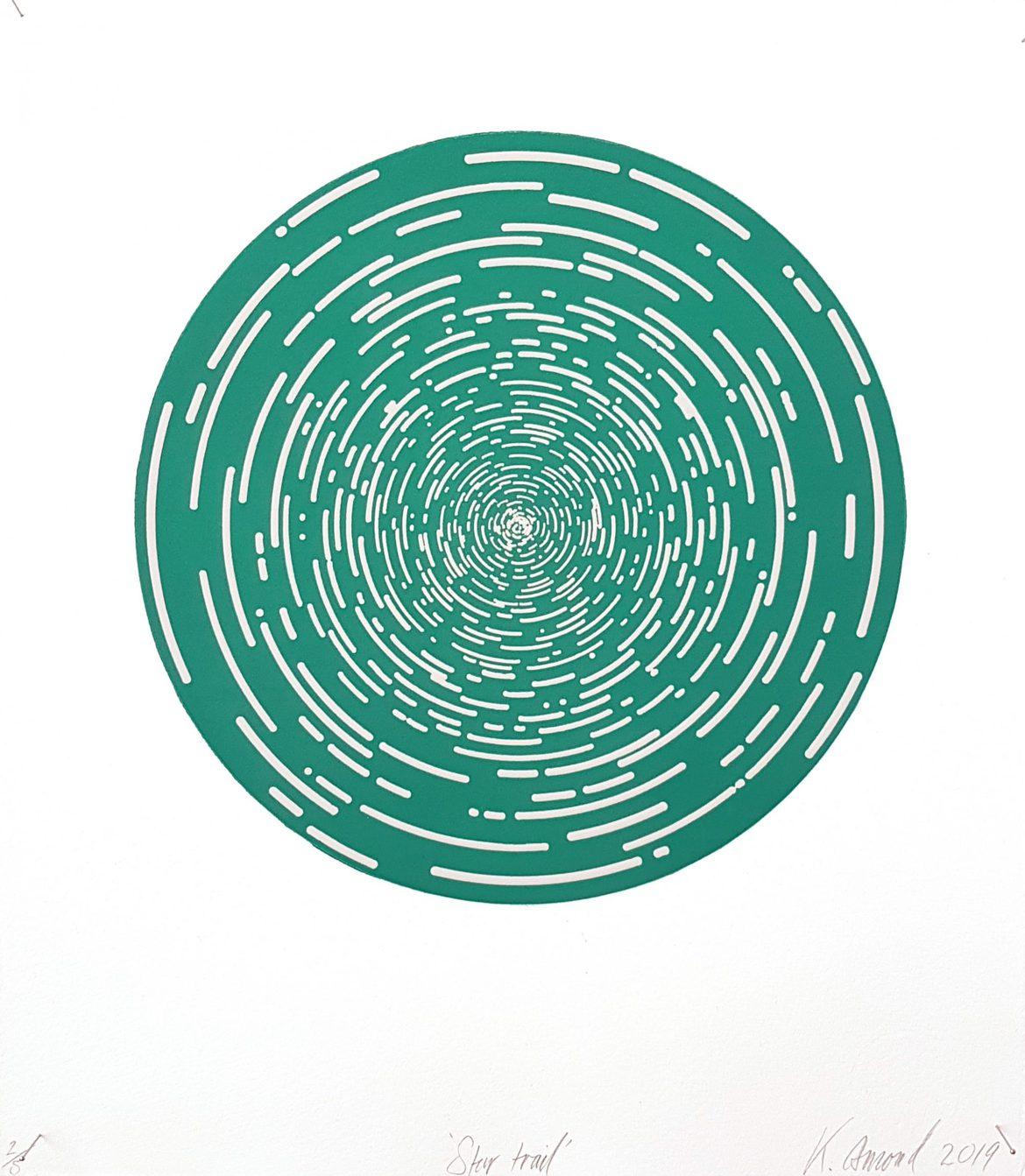 Star Trail (Dark Cyan), woodblock print, 300gsm hahnemühle deckled edge etching paper, edition of 5 +1AP, 35 x 31 cm