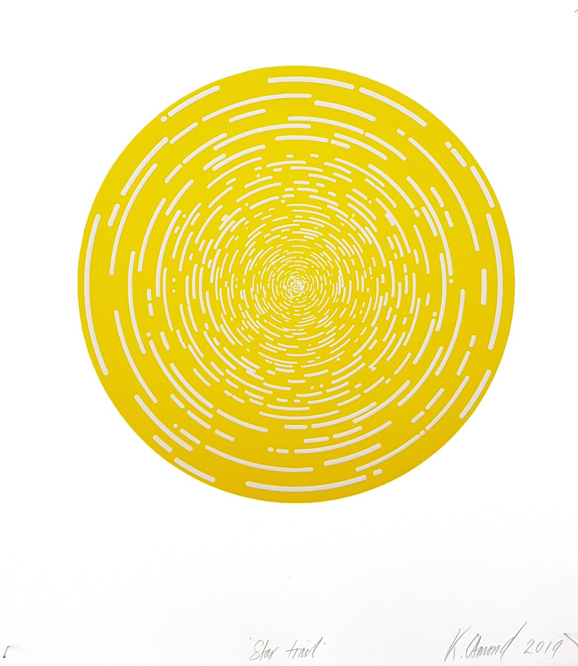 Star Trail (Lemon Yellow), woodblock print, 300gsm hahnemühle deckled edge etching paper, edition of 5 +1AP, 35 x 31 cm