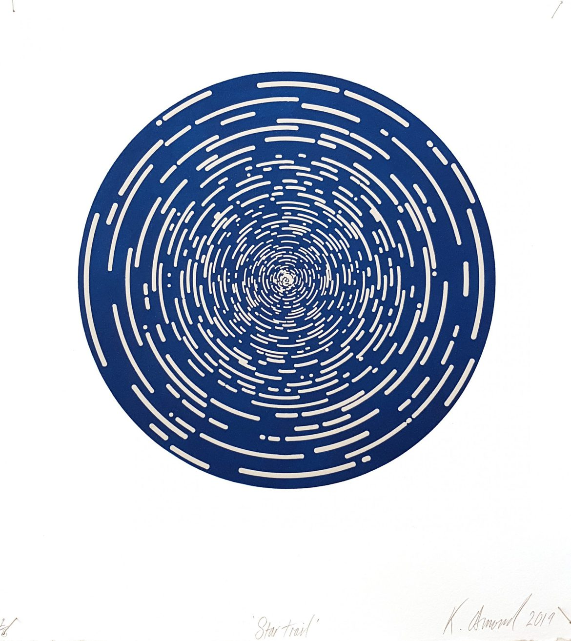 Star Trail (Midnight Blue), woodblock print, 300gsm hahnemühle deckled edge etching paper, edition of 5 +1AP, 35 x 31 cm