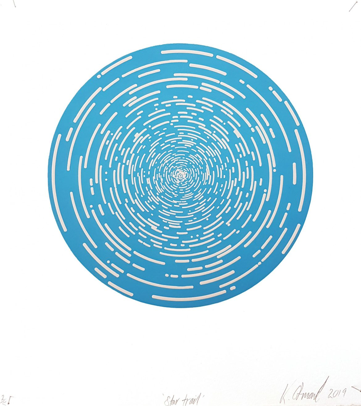 Star Trail (Sky Blue), woodblock print, 300gsm hahnemühle deckled edge etching paper, edition of 5 +1AP, 35 x 31 cm