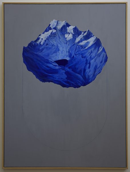 'Oeschinensee object', 2018, oil, wax, concrete and acrylic on board, 90 x 120 cm